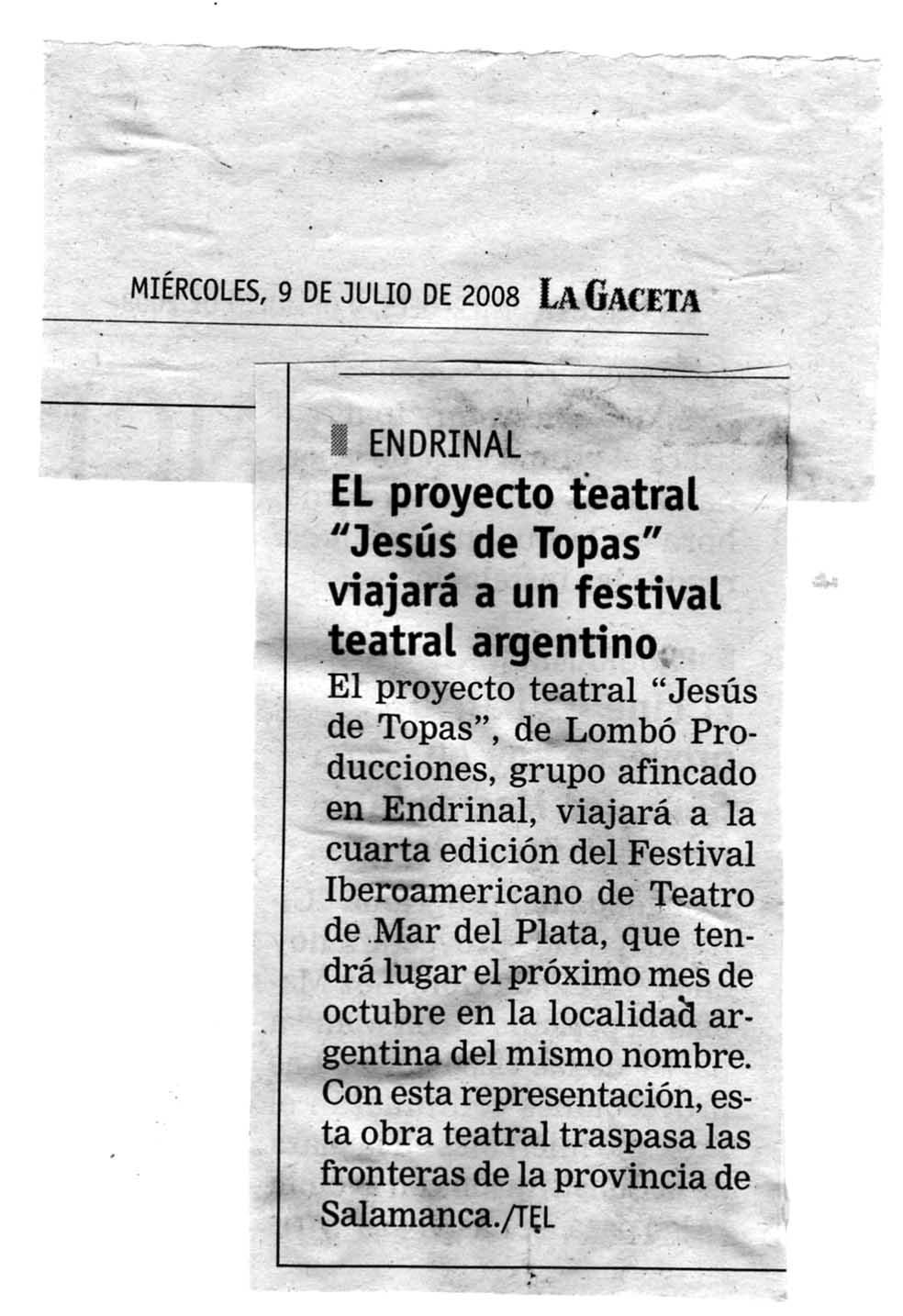 """Jesús de Topas"" invitado al Festival Iberoamericano de Teatro de Mar del Plata (Argentina)"