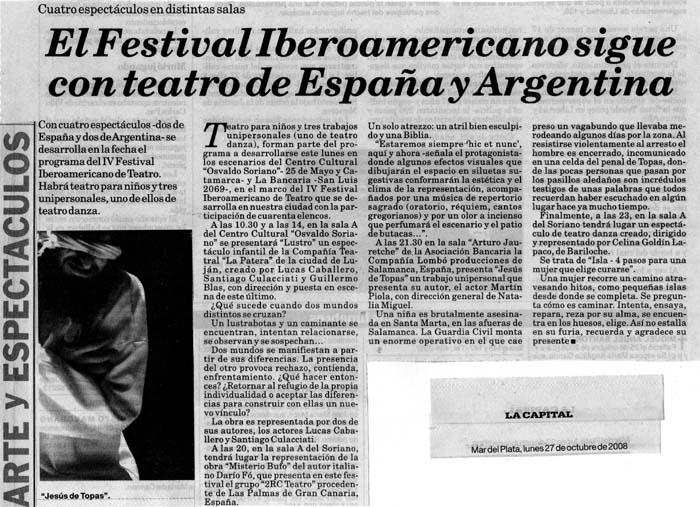 'Jesús de Topas' en el IV Festival Iberoamericano en Argentina